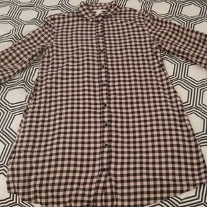 H&M Light Pink Check Print Shirt Dress